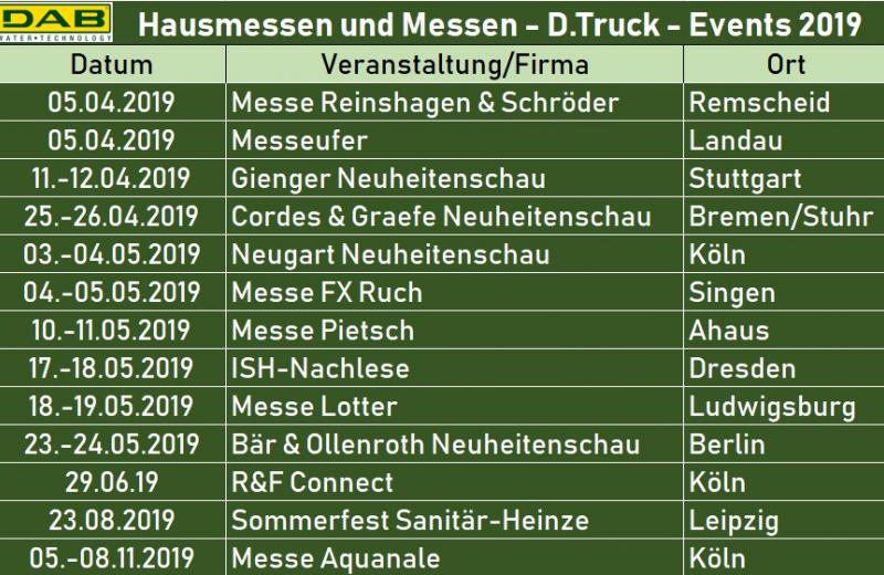 Hausmessen & Events 2019